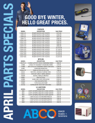 ABCO April Parts Specials. Goodbye winter, hello great prices.